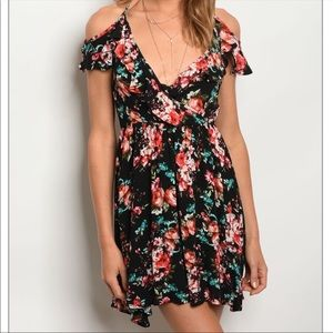 The Vintage Shop Black Floral Wrap Style Dress
